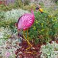 LED Solarleuchte Vogel FLAMINGO freistehend aus Metall & Glas Solarfigur für Außen