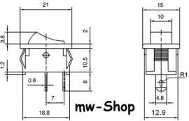 Wippschalter EIN/AUS/EIN 250/125V AC 3/6A 21x15mm - Bild vergrößern