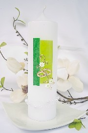 Hochzeitskerze Grün auch Silberhochzeit oder Goldene Hochzeit 743