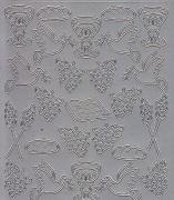 Zier-Sticker-Bogen-0197s-christliche Motive-Ähren,Bibel,Trauben-silber