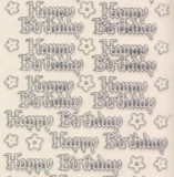 Zier-Sticker-Bogen-0344trs-Happy Birthday-transparent/silber