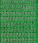 Zier-Sticker-Bogen-0815hogr-Zahlen-holo-grün-gold