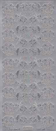 Zier-Sticker-Bogen-0823s-Rosen-silber