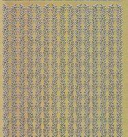 Zier-Sticker-Bogen-0976g-Ränder-Blätter-gold