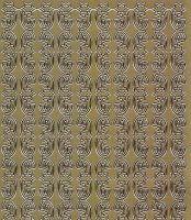 Zier-Sticker-Bogen-0986g -Ränder-Sterne und Schleifen-gold