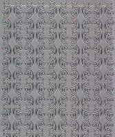 Zier-Sticker-Bogen-0986s -Ränder-Sterne und Schleifen-silber