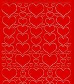 Zier-Sticker-Bogen-1139r -Herzen in verschiedenen Größen-rot