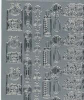 Zier-sticker-Bogen-0116s-Baby-Motive-silber