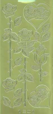 Zier-Sticker-Bogen-1201g-Rosen -gold