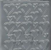 Zier-Sticker-Bogen-0120s-60/120 Herzchen-silber