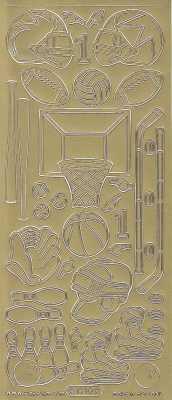 Zier-Sticker-Bogen-1210g-Sport-Motive-Hockey-Kegeln-Basketball-gold