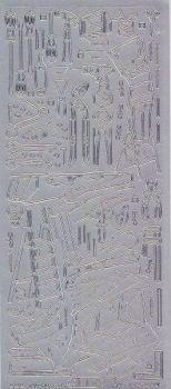 Zier-Sticker-Bogen-Werkzeug-Handwerker-Motive-silber-1213s