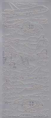 Zier-Sticker-Bogen-1214s -Flugzeuge-Hubschrauber-silber
