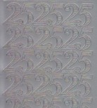 Zier-Sticker-Bogen-1229s-Jubiläums-Zahlen 25-silber