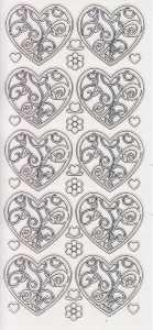 Zier-Sticker-Bogen-1900trs-Ornament - Herzen-transparent/silber