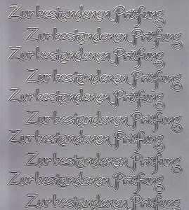 Zier-Sticker-Bogen-2556s-Zur bestandenen Prüfung-silber