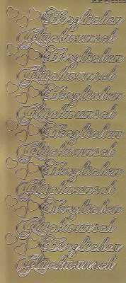 Zier-Sticker-Bogen-2559g-Herzlichen Glückwunsch-gold