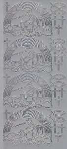 Zier-Sticker-Bogen-2804s-Kommunion-Konfirmation-Taufe-Regenbogen-Fische Kreuze