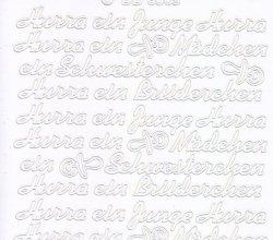 Zier-Sticker-Bogen-3009w-Hurra ein Junge/Mädchen-weiß