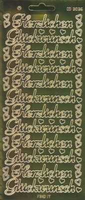 Zier-Sticker-Bogen-3036spfg-Spiegelfolie-Herzlichen Glückwunsch-gold