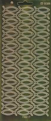 Zier-Sticker-Bogen-3085spfg-Spiegelfolie-christliche Fische-gold