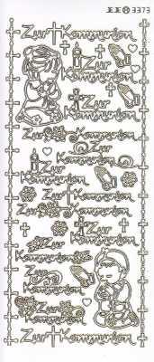 Zier-Sticker-Bogen-3373lfwg-Lackfolie-Zur Kommunion-weiß-gold