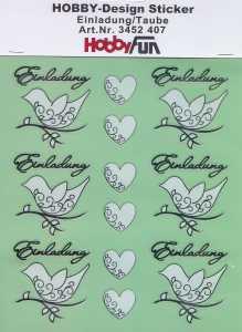 Hobby Design Sticker - HobbyFun 407- Einladung - Taube