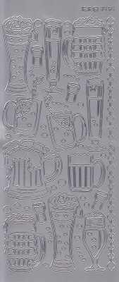 Zier-Sticker-Bogen-3454s-Biergläser-silber