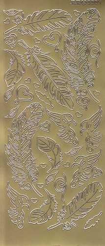 Zier-Sticker-Bogen-3504g-verschiedene Federn-gold