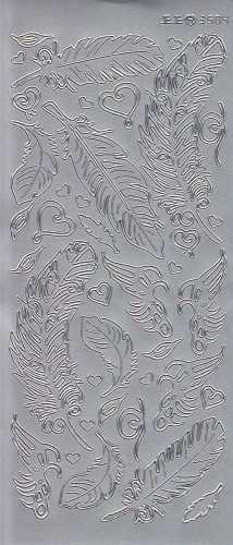 Zier-Sticker-Bogen-3504s-verschiedene Federn-silber