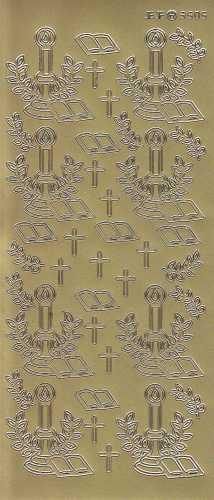 Zier-Sticker-Bogen-3505g-Christliche Motive-Kerze-Bibel-Kreuz-gold