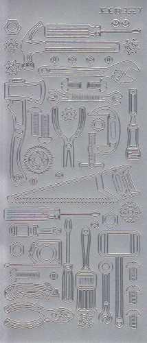 Zier-Sticker-Bogen-9527s-Werkzeug- silber