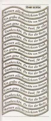 Gravur-Sticker-Bogen-GR 3924trg-Texte-Danksagungen-transparent-gold