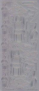Zier-Sticker-Bogen-4115s -Koch-Küche-Geschirr-silber