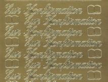 Zier-Sticker-Bogen-0414g-Zur Konfirmation-gold