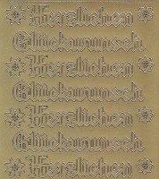 Zier-Sticker-Bogen-4401g-Herzlichen Glückwunsch-Gothic-gold