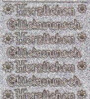 Micro-Glittersticker-4401gsg-Herzlichen Glückwunsch-Gothic-silber/gold