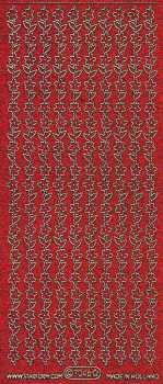 Micro-Glittersticker-7046grg-Blumenränder-rot/gold