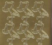 Zier-Sticker-Bogen-0821g-Storch mit Baby