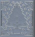 Stick-Sticker-Bogen-9113s-Tannenbaum-Ecken-Sterne-silber
