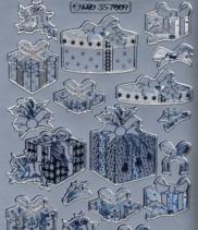 Zier-Sticker-Bogen-W 7009s-Weihnachts-Geschenke-matt/glänzend-silber