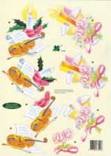3D Etappen-Bogen-Klaver 4105-Silvester-Geige/Sektgläser