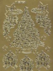 Zier-Sticker-Bogen-Tannenbäume-gold-W-6001g